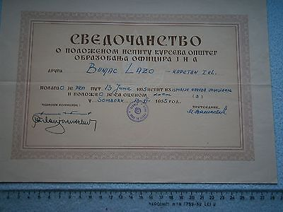 Yugoslavia Army Jna Officer School Certificate Diploma Document 1955 History