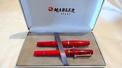 Marlen Nature Red Fountain Pen & Rollerball-Ballpoint Set - New In Box