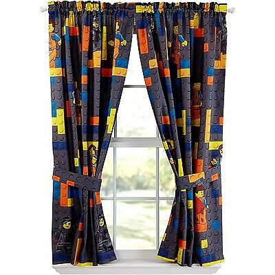 "The Lego Movie Curtain Drapes Window Panels 82"" W x 63"" L (Set of 2) New"