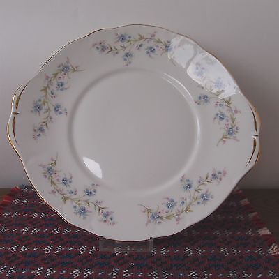 """Duchess Cake Plate Tabbed Tranquillity - Blue Forget-me-nots - 10"""" /26cm - Nice!"""