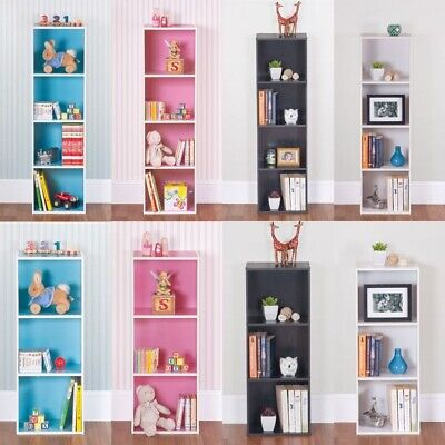 Uncle Bills 3/4 Tier Coloured Bookcases for Home, Kids in White Black Pink Blue