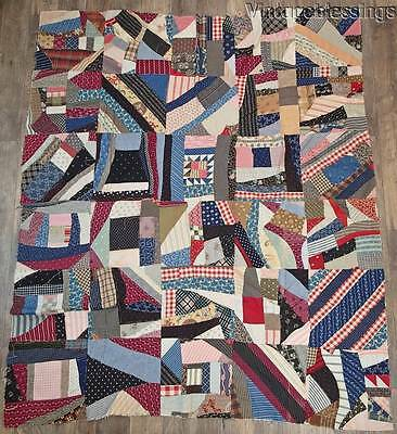 "Fantastic STRING PIECED Antique c1880 QUILT TOP 80"" x 70"""