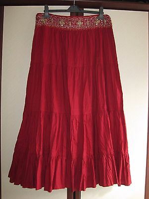 Ladies tiered, gypsy, Indian, red skirt, 12-14