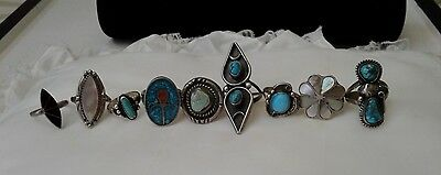 VINTAGE Rare ASSORTED STERLING SILVER RING LOT of 9 NATIVE AMERICAN Jewelry