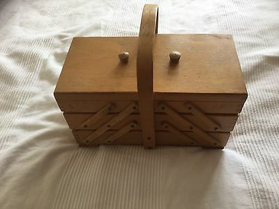 Wooden Sewing Box 3 Tier Concertina Maybe Vintage