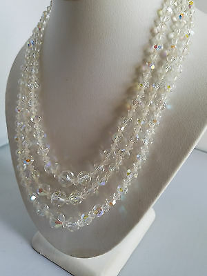 Vintage Faceted Crystal Glass Graduated Beaded AB Finish 3 Strand Necklace