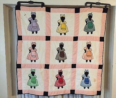 African American crib baby Quilt black ladies applique embroidery vintage