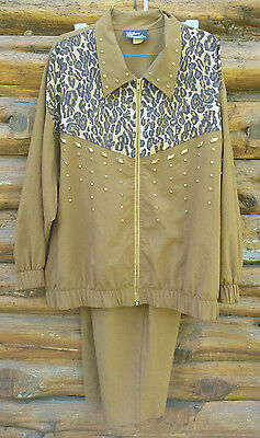 Womens Vintage 90s  TrackSuit  Sz  2XL  Jacket Pants Brown Leopard Silver Thread