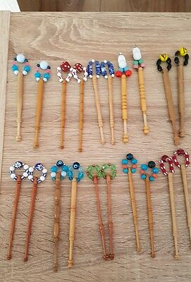 10 pairs  wood lace bobbins bundle all  spangled  . please read listing