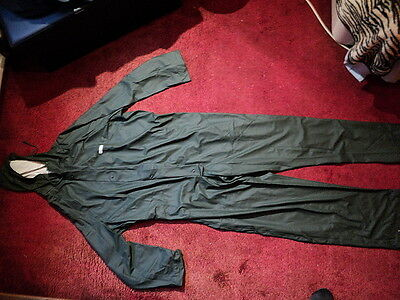 Men's Microflex Olive Waterproof Hooded Overalls size Large
