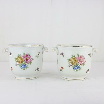 Pair Richard Ginori Porcelain Floral Cache Pots Urns Italy Planters Italy VTG