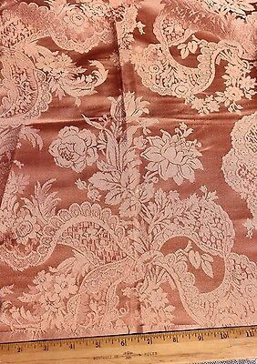 French Victorian Peach Lyon Silk Floral & Lace Damask Fabric c1880~Home Dec