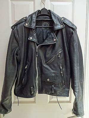 Men's Tannery West Black Leather Motorcycle Jacket SIZE M