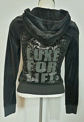 Juicy Couture Gray Velour Hoodie Size X/S Zip Up Graphic  Sweater