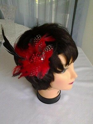 Fascinator feather Hair Clip Cocktail Headwear Flower Bridal / corsage