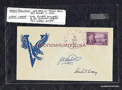 Jimmy Doolittle & Curtis Lemay Signed Autographs On Vj Day Cover Sep 2, 1945 Coa