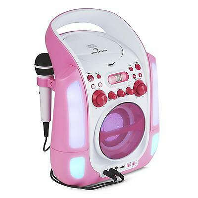 Portable Karaoke Player Machine Music Cd System Usb Aux Microphone Input Led
