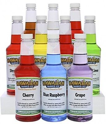Snow Cone Machine Supplies Hawaiian Shaved Ice Fun Yummy Flavor Syrups 10 Pack
