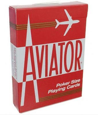 Aviator Standard Playing Cards Deck Magic Tricks Poker New Sealed Red.