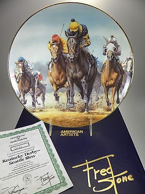 Fred Stone Kentucky Derby-Seattle Slew Horse Collector Plate (#2231) Box & Cert
