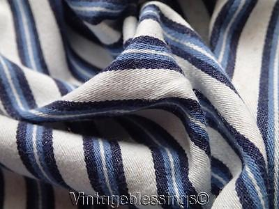 "Antique French Blue Stripe Ticking Cotton Fabric 70"" x 48"""