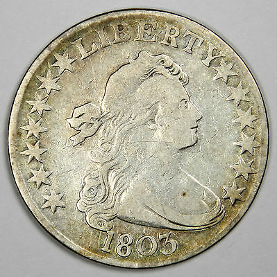 1803 Draped Bust Half Dollar - Beautiful F/vf - Very Bold And Priced Right!