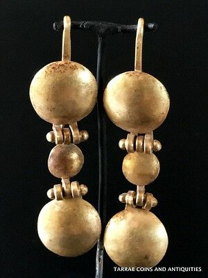 Ancient Roman Gold Hinged Shield Earrings; 100 Bc - 200 Ad! Choice Condition!