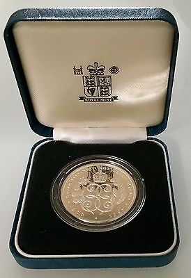 1990 SILVER PROOF CROWN THE QUEEN MOTHER 90th BIRTHDAY NEW IN BOX WITH COA