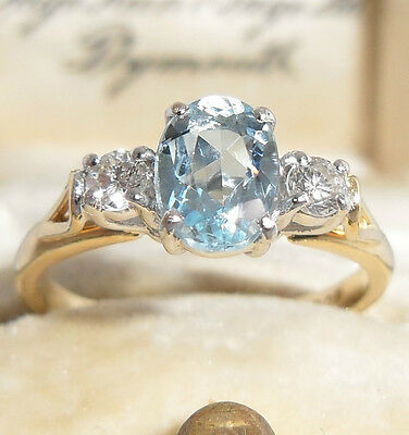 Superb 18Ct Oval Aquamarine & Diamond Trilogy White & Yellow Gold Ring