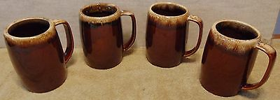 Lot of 4 Hull Oven Proof Brown Drip Ceramic Mugs. Stoneware Pottery.