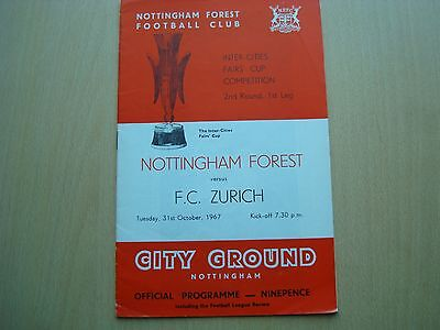 Nottingham Forest V Fc Zurich Oct 1967