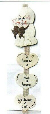14x4.5 HOUSE NOT HOME WITHOUT CAT funny country heart wood cats wall decor sign