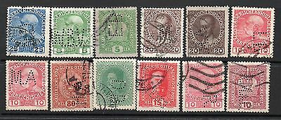 Austria x 12 Used Perfins See Scans For Full Detail & Condition