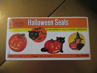 ViINTAGE MID CENTURY EUREKA HALLOWEEN SEALS 36 W/6 DIFFERENT DESIGNS COMPLETE