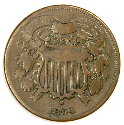 1864 Two 2 Cent Small Motto - Nice And Original Fine - Priced Right!