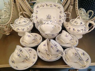 Antique Staffordshire Dainty Lilac & Blue Flowers Bone China 19pce TEA SET