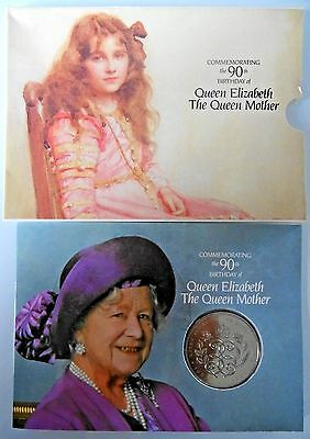 COMMEMORATING THE 90th BIRTHDAY OF QUEEN ELIZABETH THE QUEEN MOTHER CROWN COIN