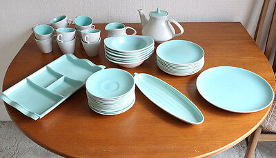 Table Ware.Vintage Poole Twintone Ice Green and Seagull Collection. Complete set