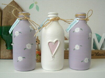 3 Painted Bud Vases / Bottles Lilac Pink White Heart Vintage Country Shabby Chic