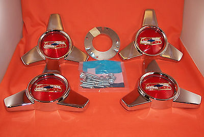 1957 1958 Chevy Spinner Hub Cap Centers Chrome Belair Hardtop Nomad Convertible