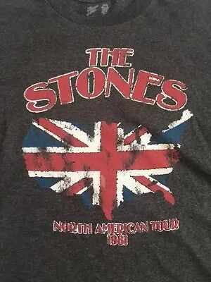 ROLLING STONES North American Tour 1981 Repro Concert T-Shirt Gray Size L