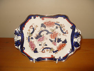 """Mason's Ironstone Blue Mandalay 2-Handled Serving Tray or Stand 7"""" x 5"""""""