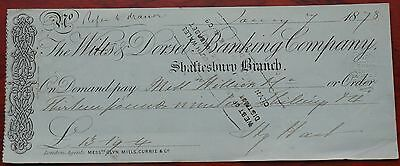 Wilts & Dorset Banking Company Shaftesbury Branch used cheque 1878, green, VF