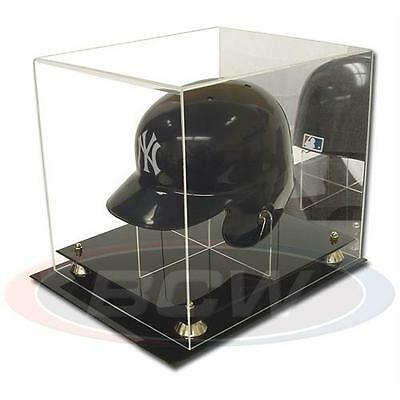 1x BCW Deluxe Acrylic Baseball Helmet Display - Mirrored Back - Gold Risers