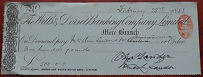 Wilts & Dorset Banking Company Mere Branch used cheque 1888, green, VF