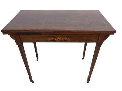 Edwardian Rosewood and Inlaid Fold Over Card Table