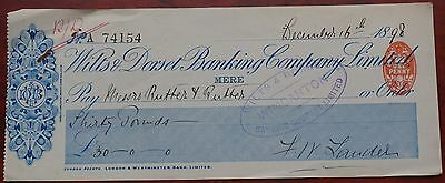Wilts & Dorset Banking Company Mere Branch used cheque 1898, blue, VF
