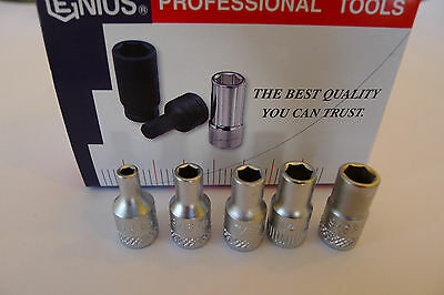 "Genius Tools 1/4"" Drive SAE Hand Socket 1/8"" to 9/16"" standard length - CAD"