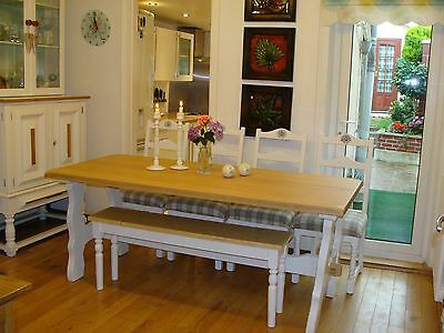 SHABBY CHIC  / COUNTRY STYLE / OAK DINING TABLE  4 CHAIRS and BENCH