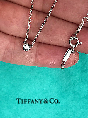 Tiffany & Co Elsa Peretti Sterling Silver Diamonds By The Yard Pendant Necklace